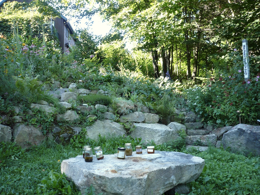 oil steeping rock in garden