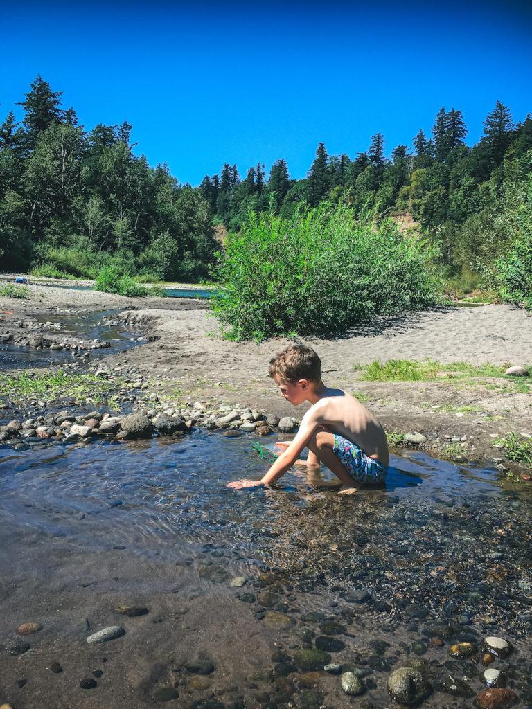 white kid in stream