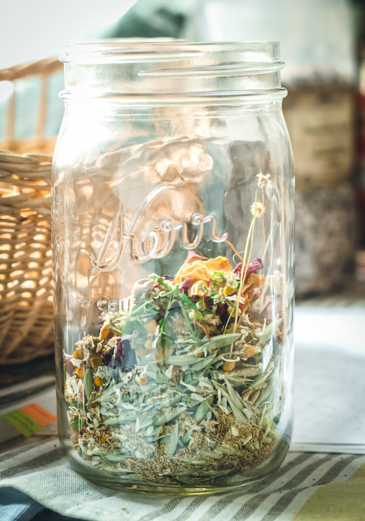 st johns wort chamomile milky oat herbal tea in jar