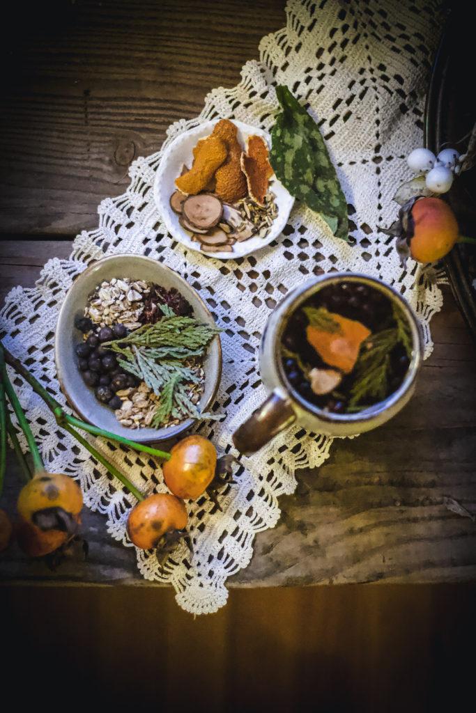 orange peel, cedar, rose hips, cinnamon, juniper berry herbal tea