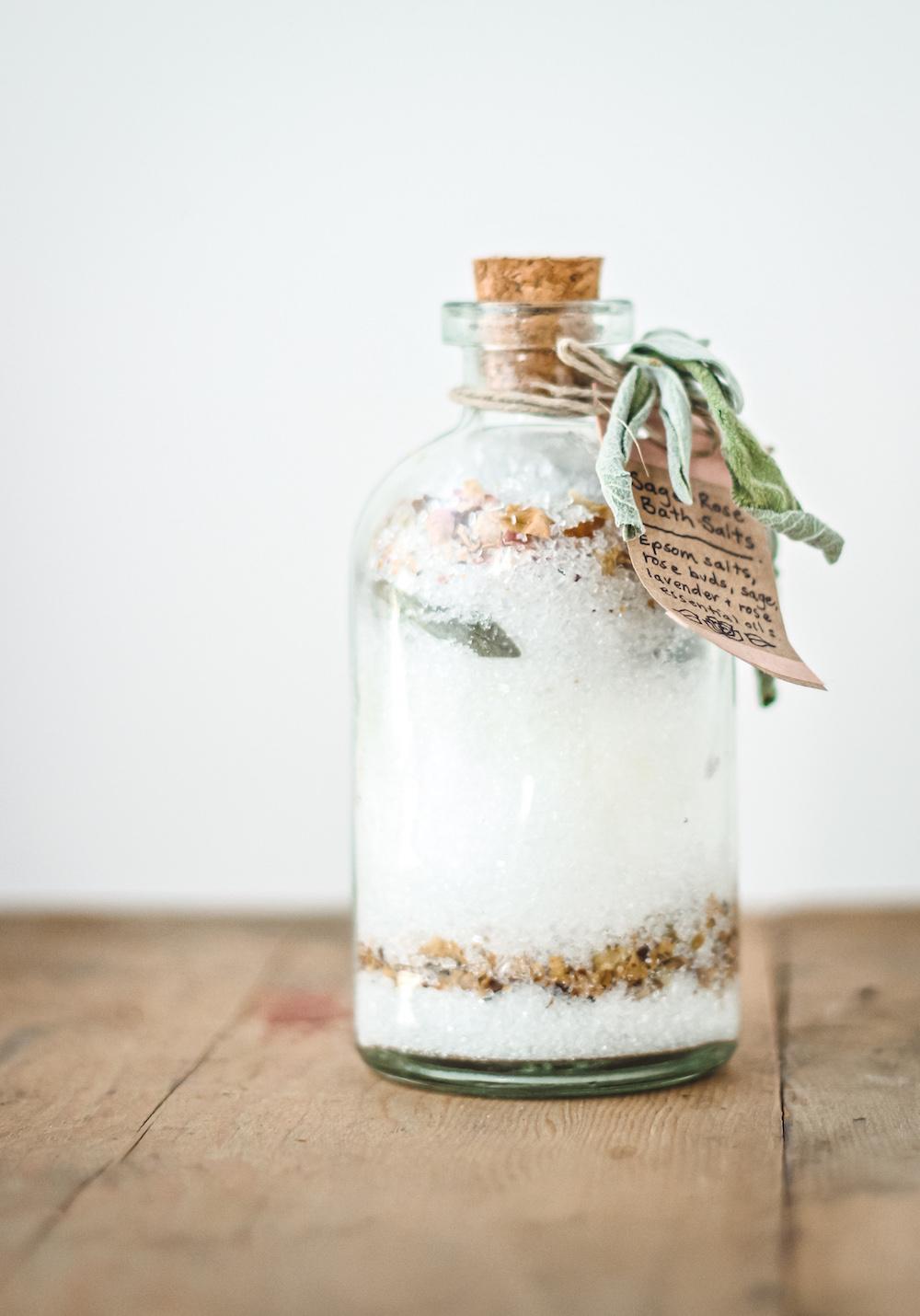 salt bath soak in glass jar