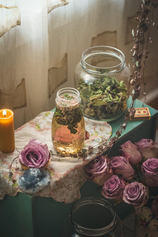 aquarius and skullcap tea on altar