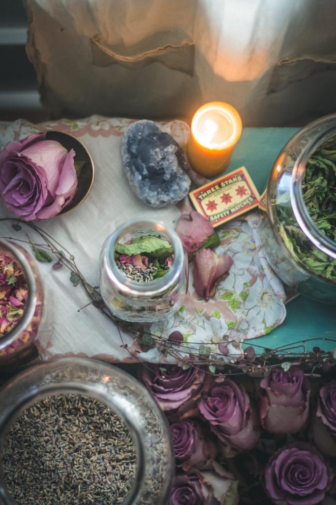 skullcap rose lavender tea altar candle
