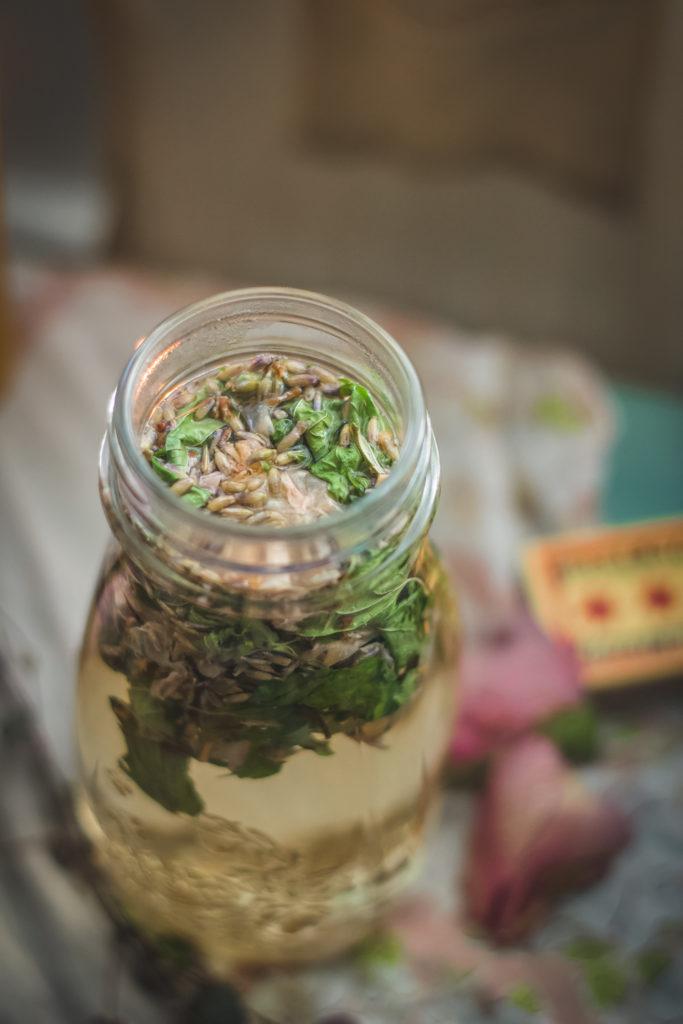 close up of skullcap lavender rose tea steeping