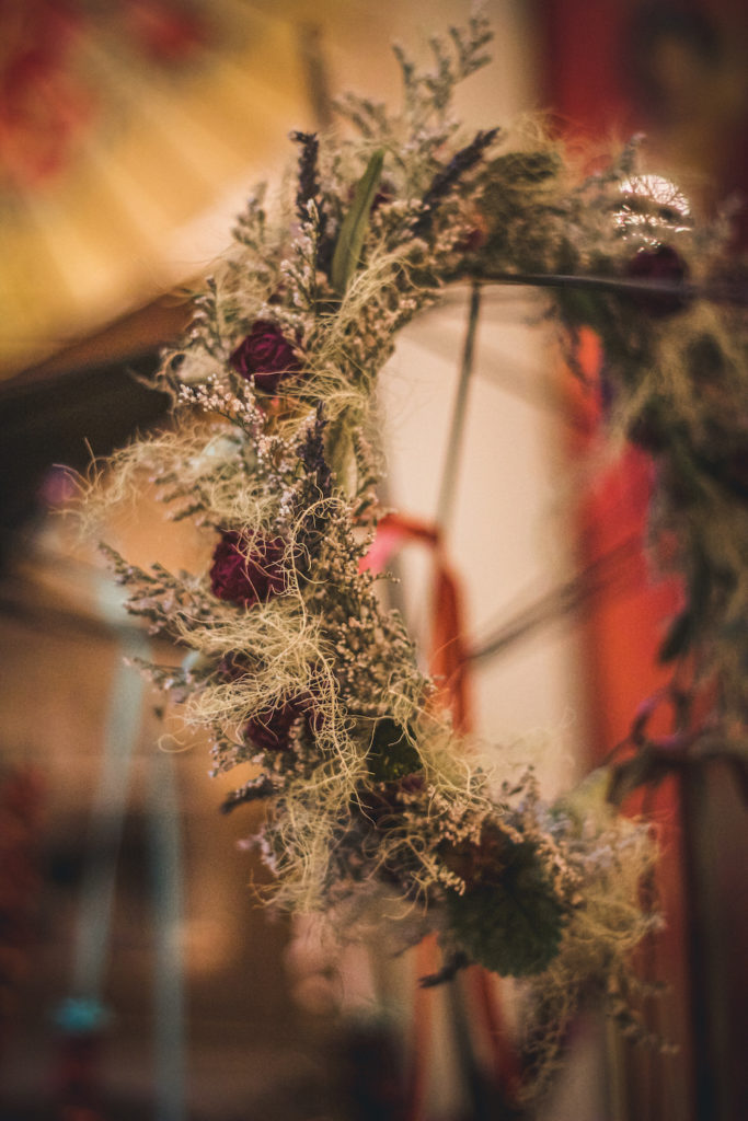 airy floral wreath with lichen