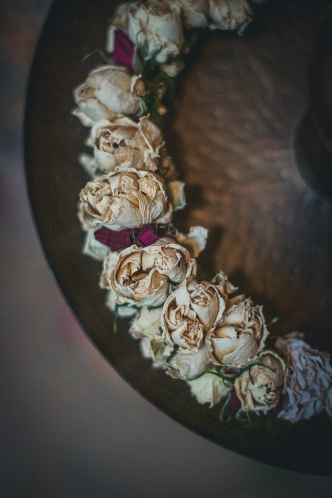 dried white rosebuds