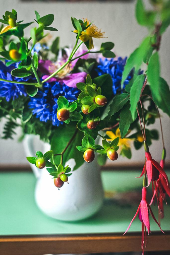 hypericum berry in peony arrangement