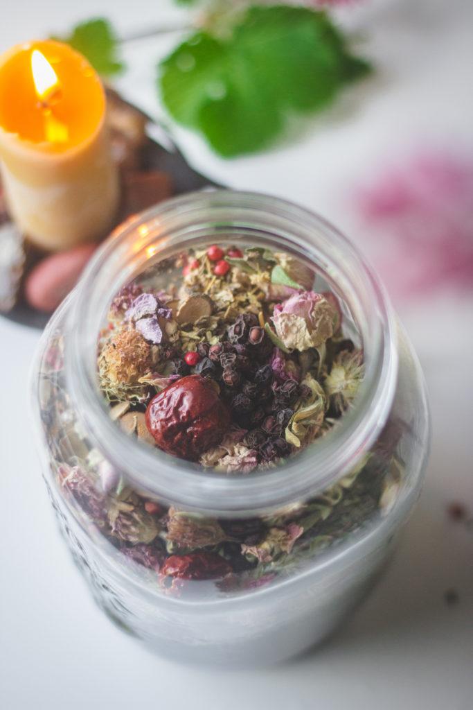 herbal tea blend in jar
