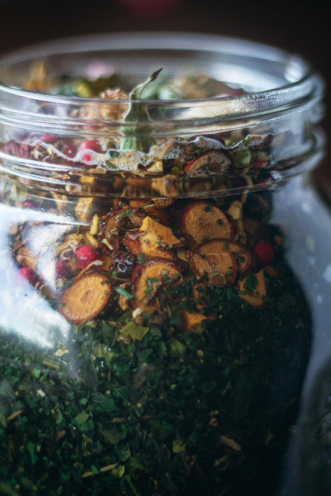 close up of nettle cinnamon twig in jar