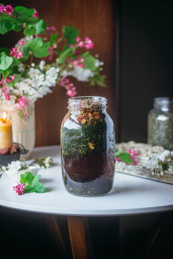 tea steeping in a jar full