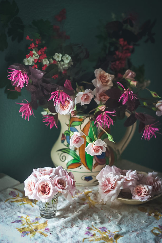 fringe tree rose arrangement