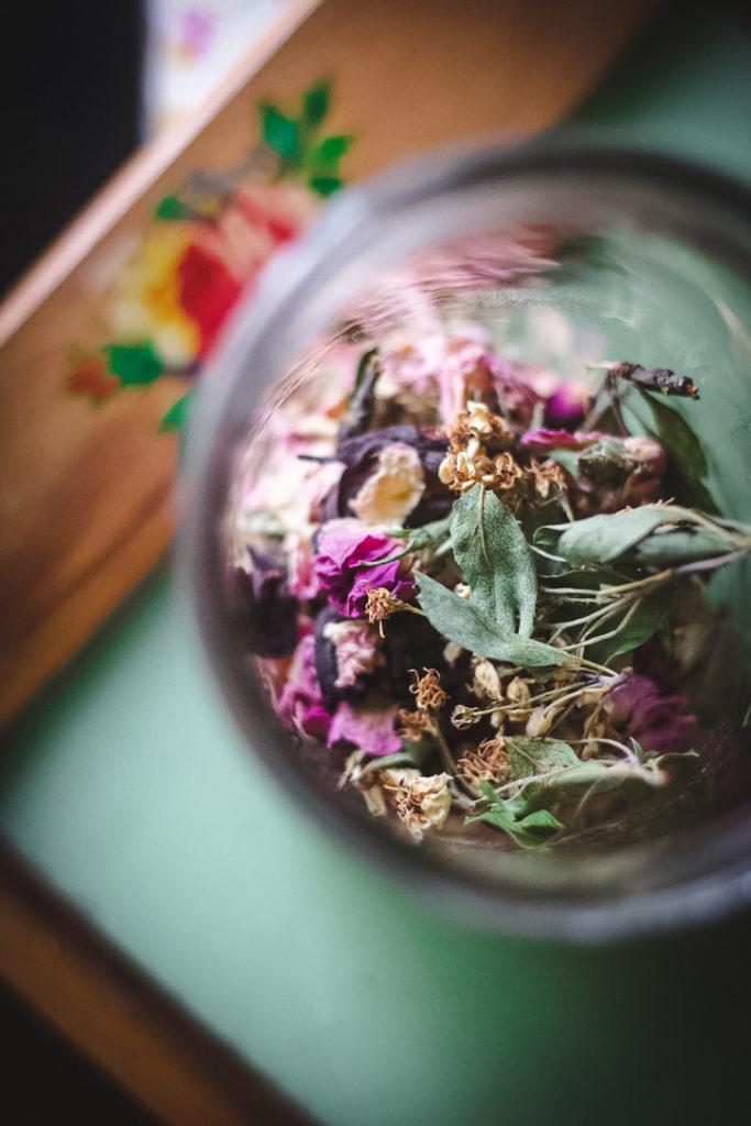hawthorn rose tea blend in glass jar