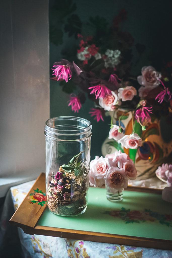 hawthorn rose tea in a jar