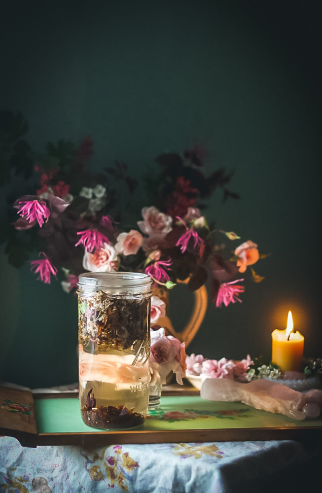 rose hawthorn tea steeping candle flowers