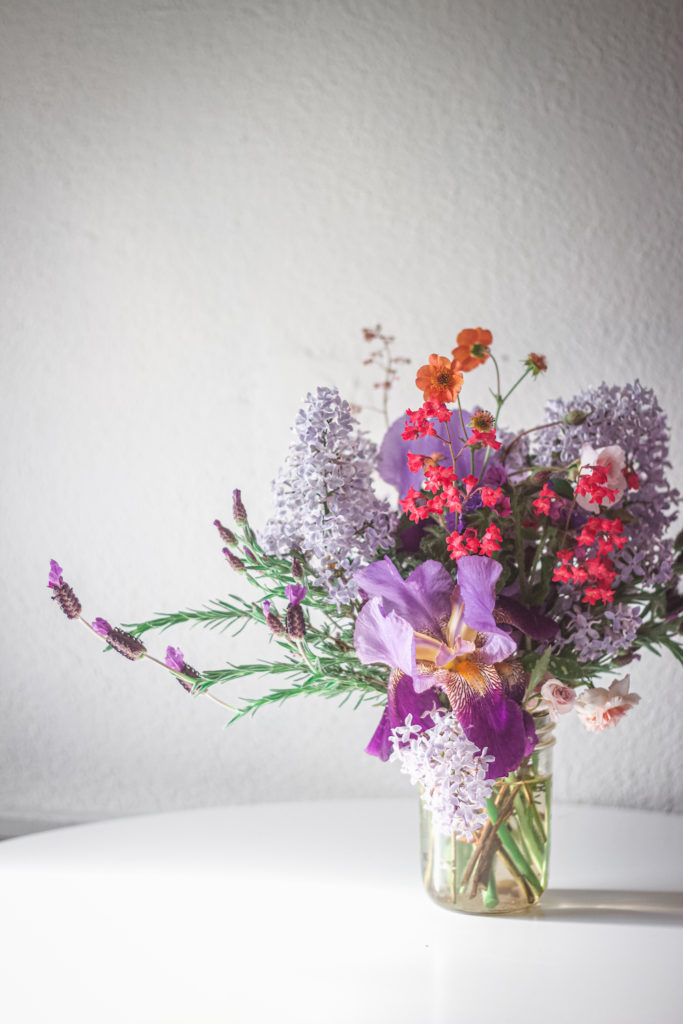 iris lilac lavender arrangment