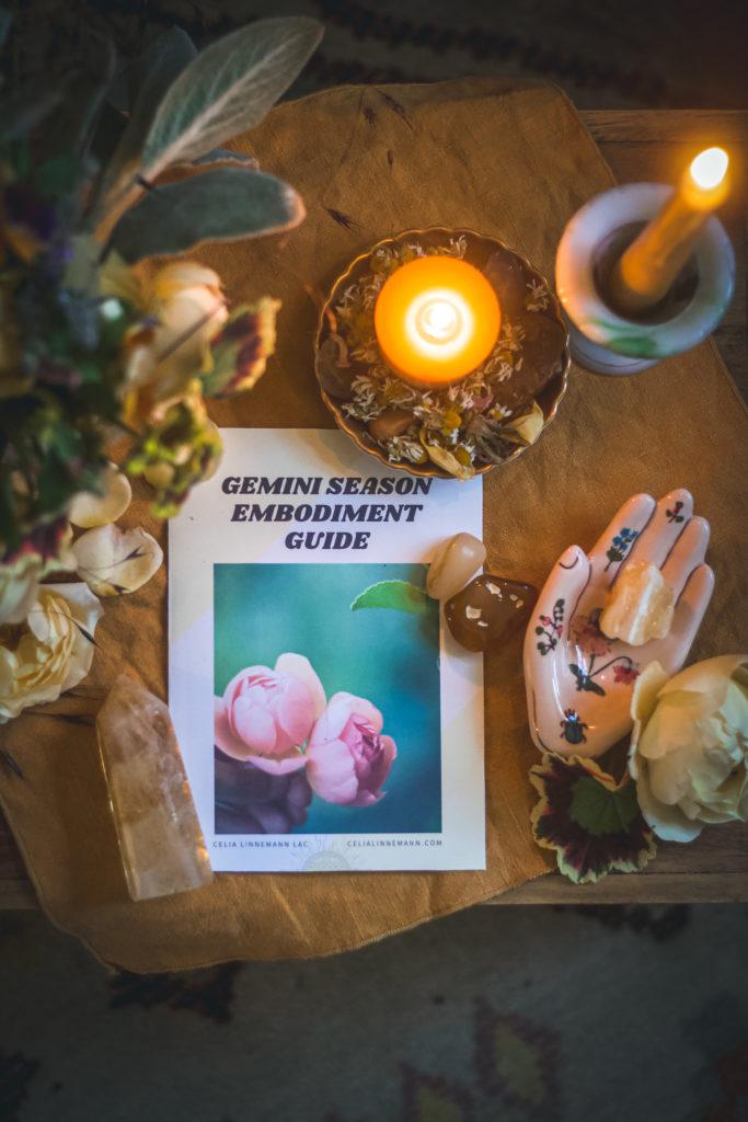 printed paper guide that says gemini season embodiment guide