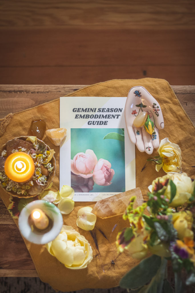 gemini season guide on a yellow altar