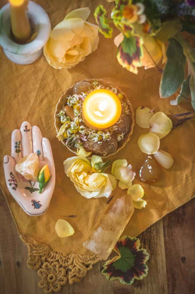 top down yellow candle altar gemini