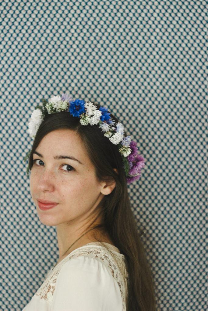 wearing flower crown